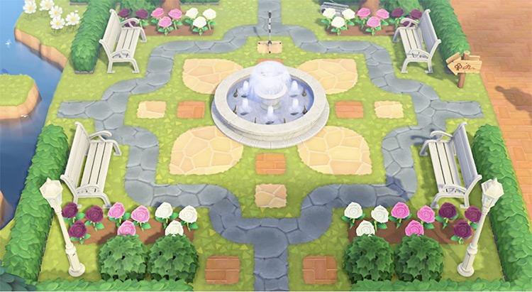 Community Garden with a Fountain - ACNH Idea