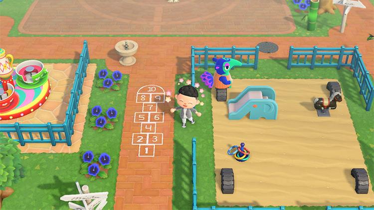 Playground Plaza Area near Town Square - ACNH Idea