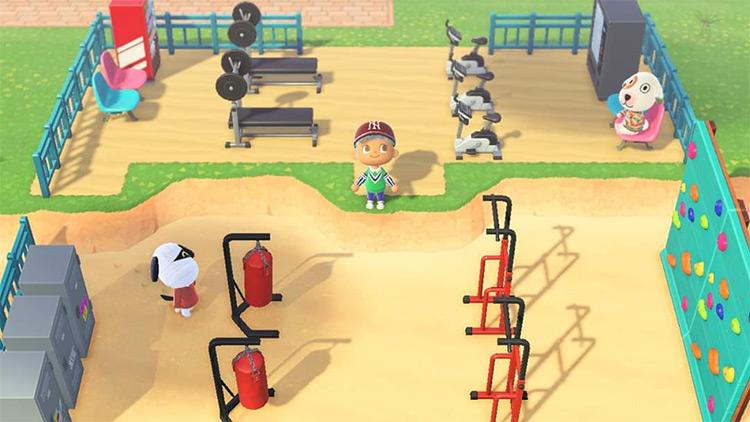 Gym area on the beach - ACNH Idea