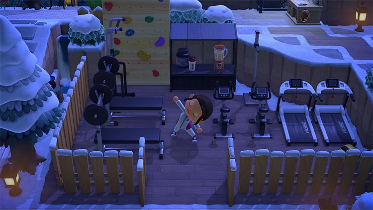 Small workout area in the winter - ACNH Idea