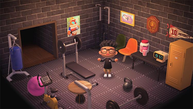 Custom city-style indoor gym area - ACNH
