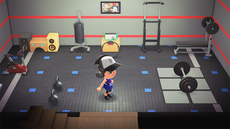Custom basement gym idea - ACNH
