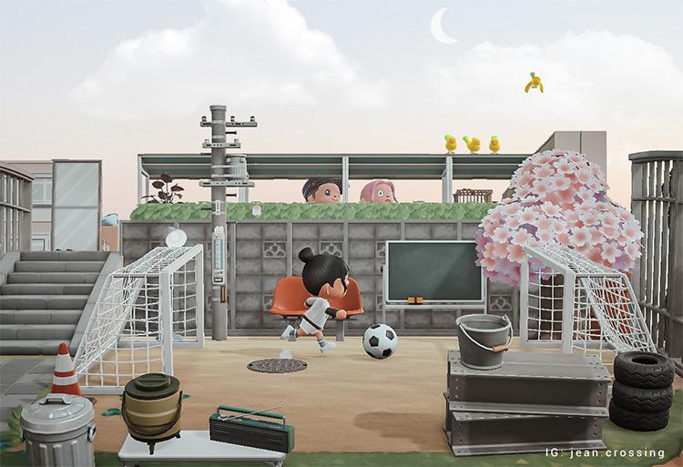 Soccer Field on a cloudy day - ACNH Idea
