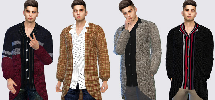 Long Male Cardigans - Sims 4 CC Preview