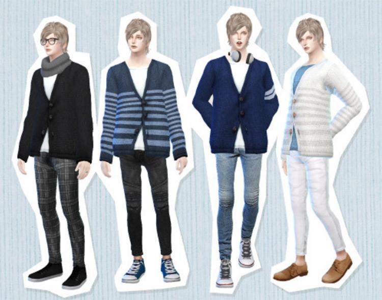Eyemyth Sims' Men's Cardigans For Sims 4