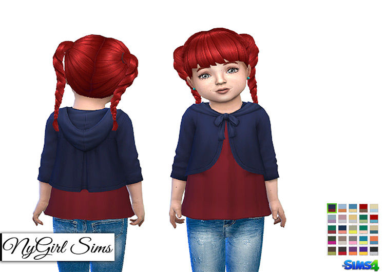 NYGirl Sims' Toddler Shirt w/ Hooded Cardigan for Sims 4