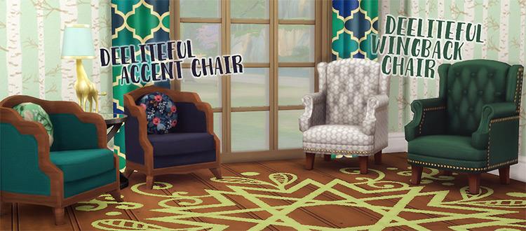 Custom wingback chairs CC - Sims 4