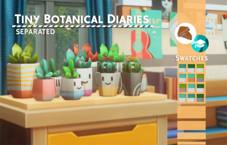 Separate succulent plants for your hallway - Sims 4 CC