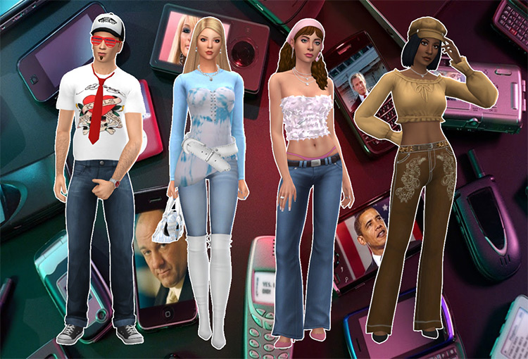 Assorted 2000S Fashion Cc Set For The Sims 4