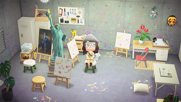 Art Studio Loft Attic - ACNH Idea
