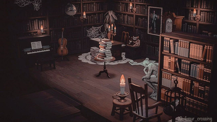 Dusty Library Interior - ACNH Idea