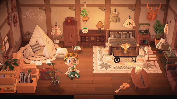 Cute Guest Room In Attic - ACNH Idea