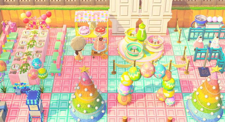 Pastel-themed colored carnival idea in ACNH
