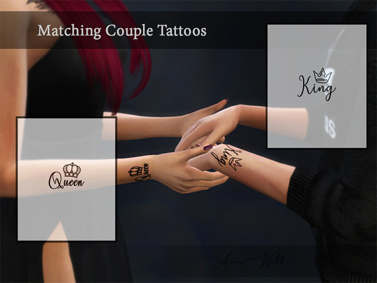 King and Queen Tattoos CC Set for TS4