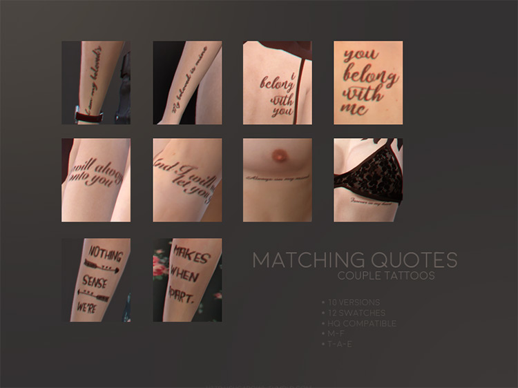 Matching Quotes Tattoo CC for TS4