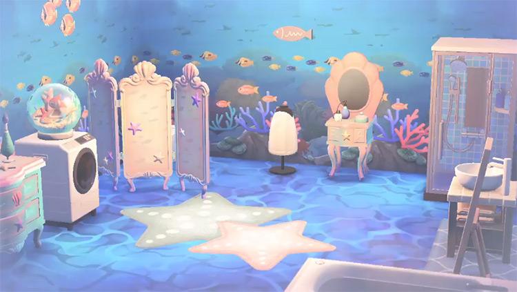 Undersea Bathroom Mermaid-themed Idea in ACNH