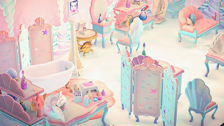 Pink Parlor with Mermaid Items - ACNH Idea