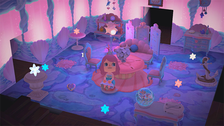 Living Room with Corals & Mermaids - ACNH Idea