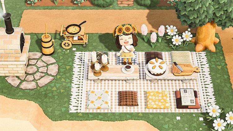 Brunch-themed Relaxing Picnic Spot - ACNH Idea