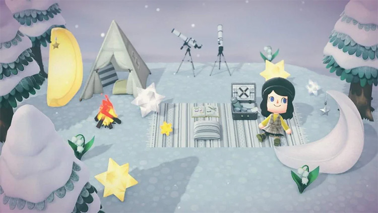 Stargazing picnic area in ACNH