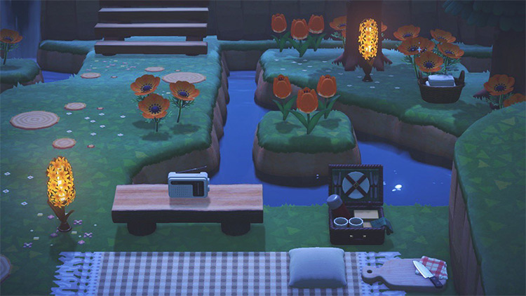Simple Nighttime Picnic Area in ACNH