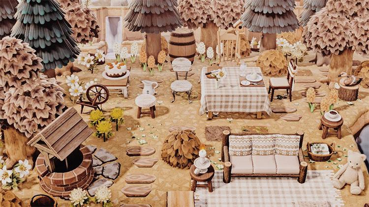 Autumn-themed picnic area design - ACNH Idea