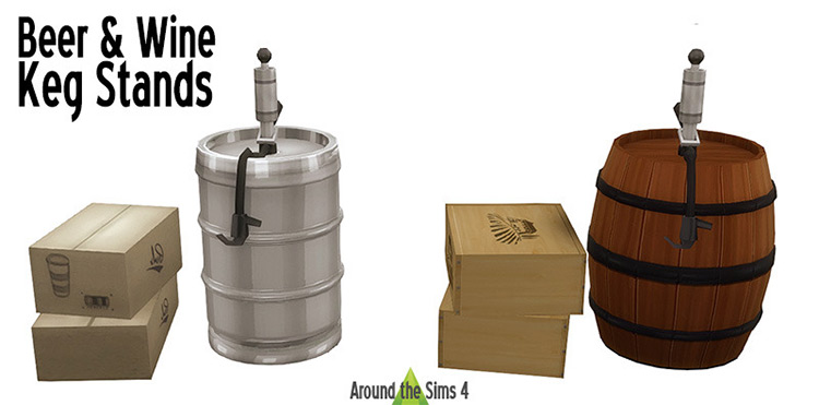 Beer and wine kegs CC for Sims 4