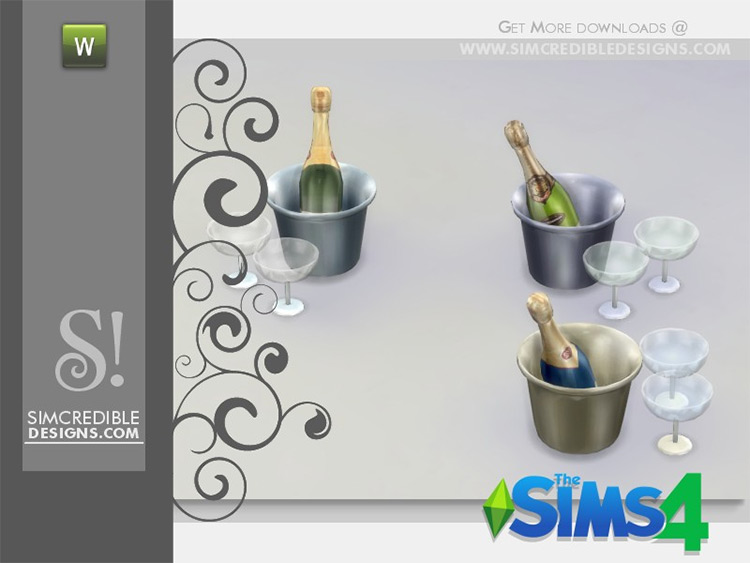 Custom campagne bottles CC for The Sims 4