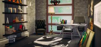 Dark modern study room design - Sims 4 lot