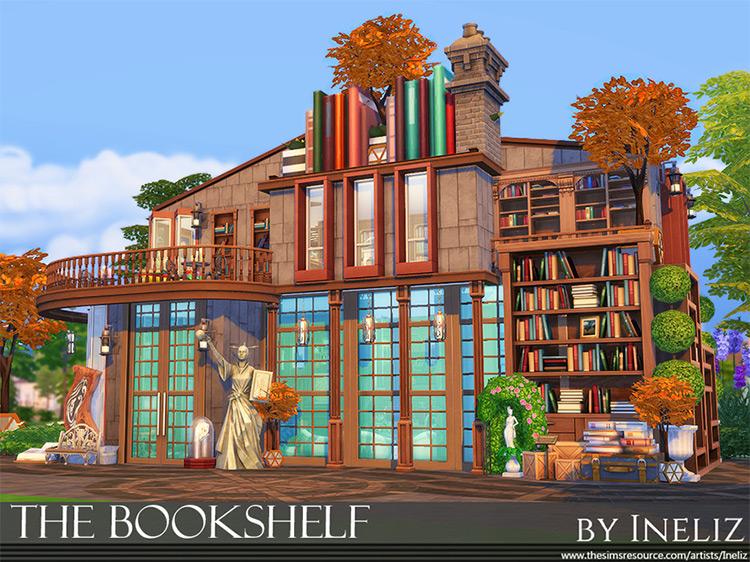 Bookshelf Lot building design for The Sims 4