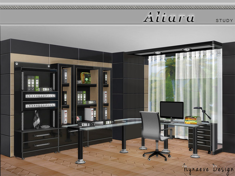 Altara Modern Study Decor CC for The Sims 4