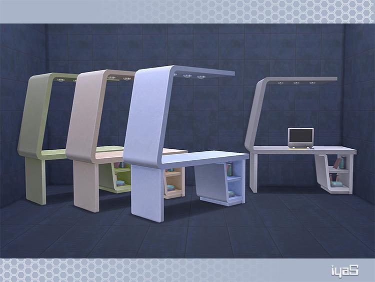 Custom futuristic desk with modern design - Sims 4