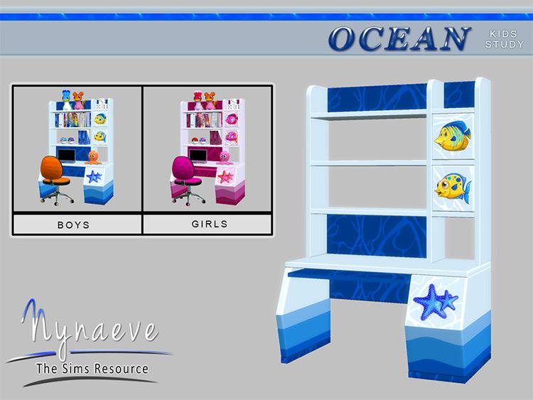 Ocean-themed kids desk CC - Sims 4
