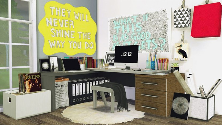 Corner work desk CC - Sims 4