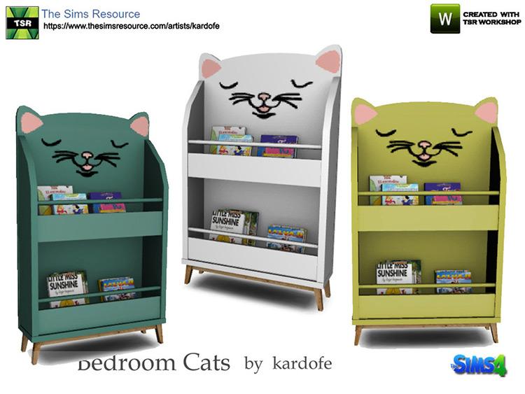 Simple kids cat-themed bookshelf CC - Sims 4