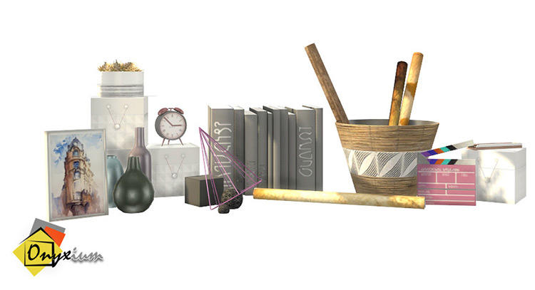 Study materials clutter pack CC for Sims 4