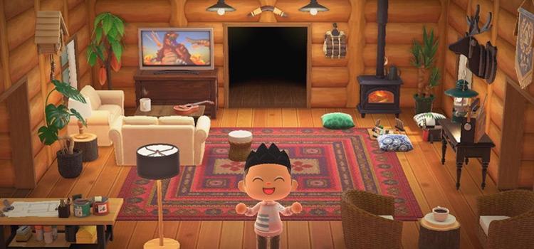 Log Cabin Living Room Interior in New Horizons
