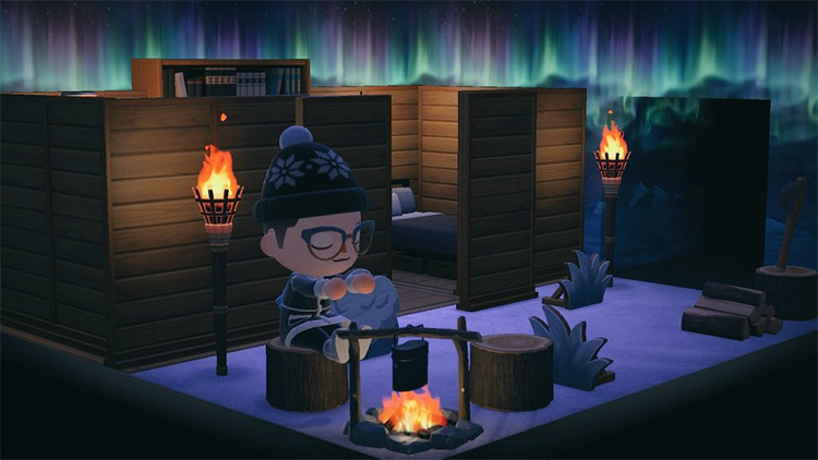 Northern lights cabin wallpaper idea for ACNH