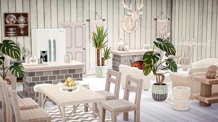 White contemporary design for cabin - ACNH Idea