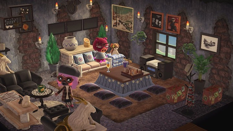 Winter log cabin lodge idea - ACNH