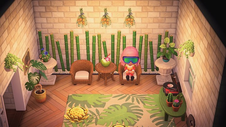 Cabin lounge space with leaves - ACNH Idea