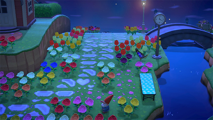 Nighttime floral walkway by river - ACNH Idea