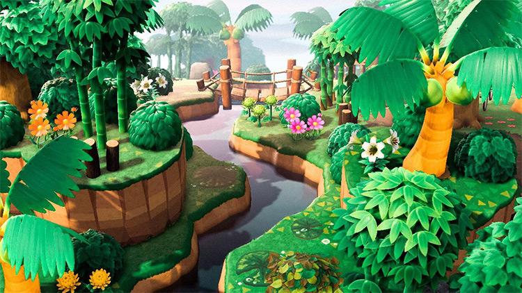 Junglecore river space in ACNH