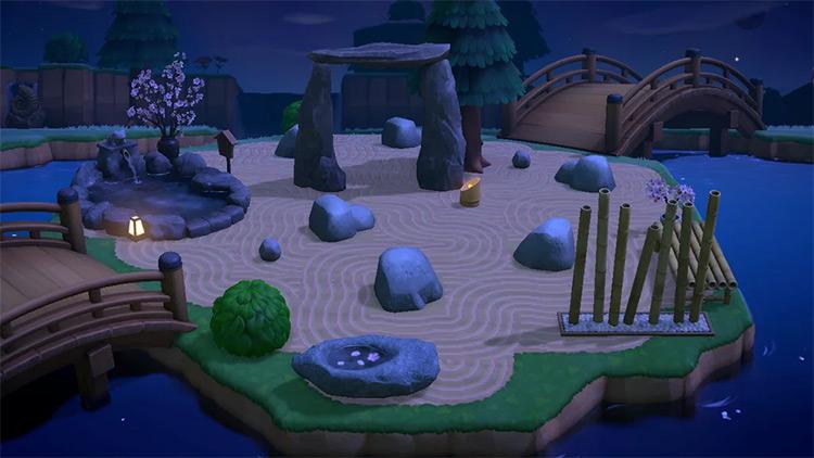 Rock zen garden near river - ACNH Idea