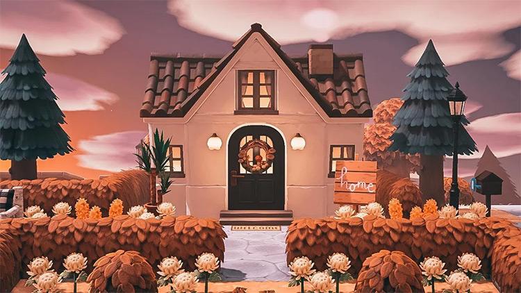 Autumn leafy yard idea - ACNH