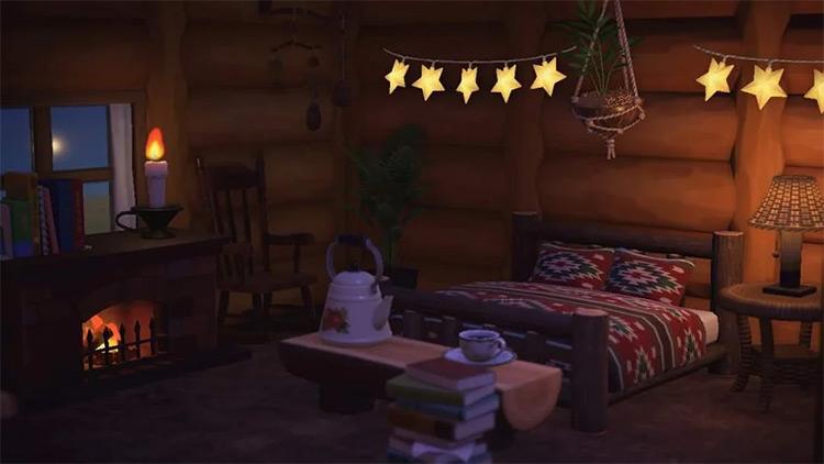 Cozy cabin interior in fall - ACNH Idea