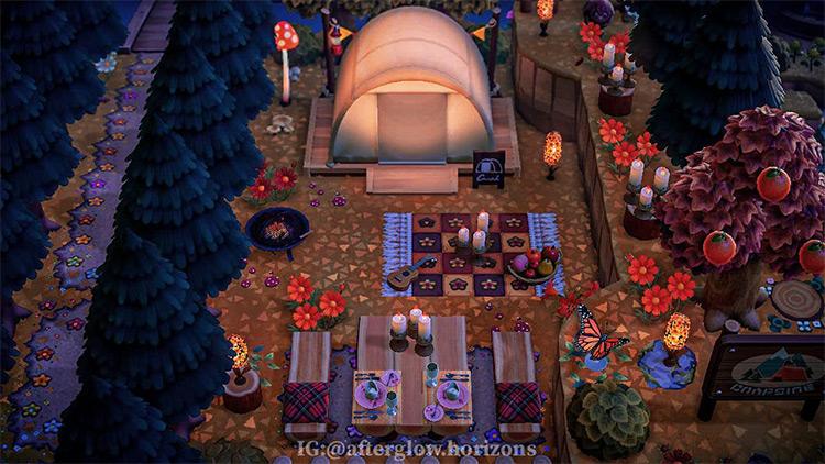 Bright autumn campsite design - ACNH Idea