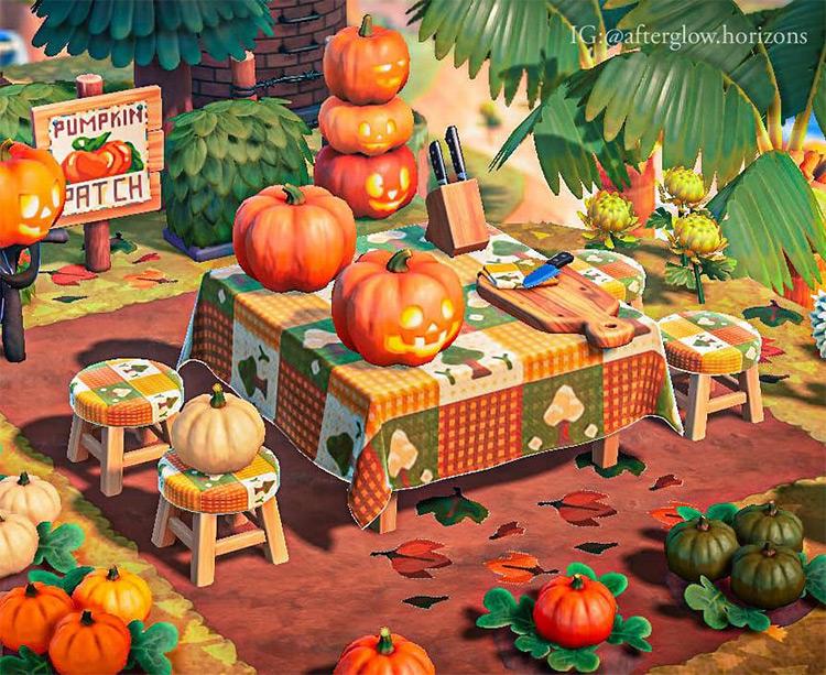 Custom pumpkin carving area in ACNH