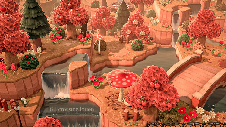 Orange and red fall scenery - ACNH Idea