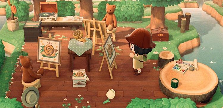 Outside art studio in autumn - ACNH idea